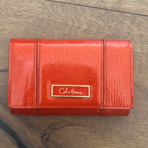info for 15b01 ba615 Cole Haan Business card case spicy orange